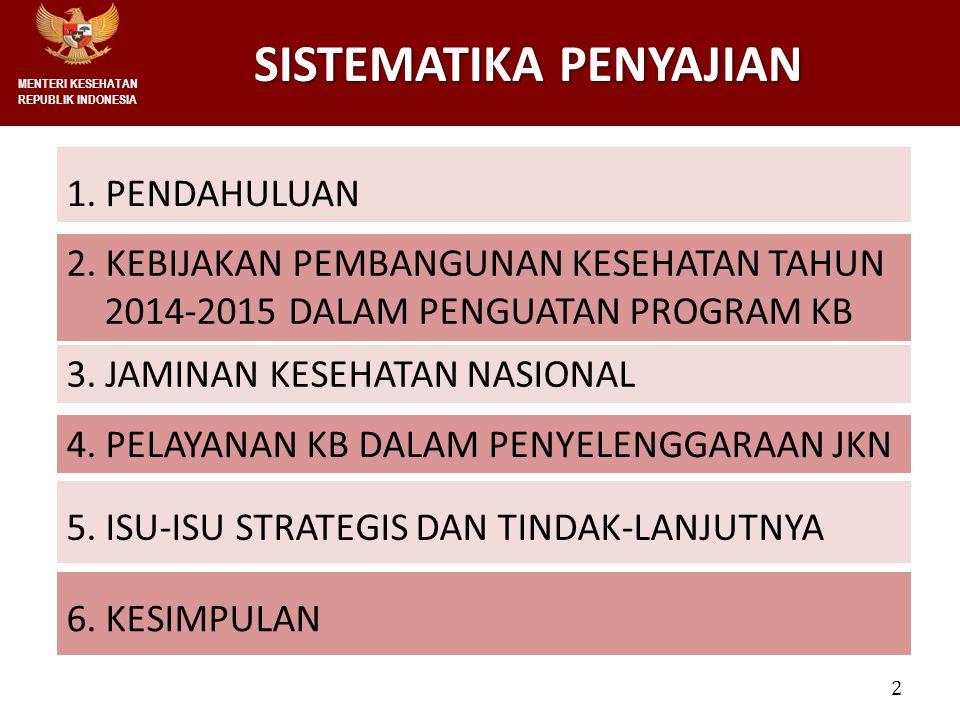 2 SISTEMATIKA PENYAJIAN SISTEMATIKA PENYAJIAN 1. PENDAHULUAN MENTERI KESEHATAN REPUBLIK INDONESIA 4. PELAYANAN KB DALAM PENYELENGGARAAN JKN 6. KESIMPU