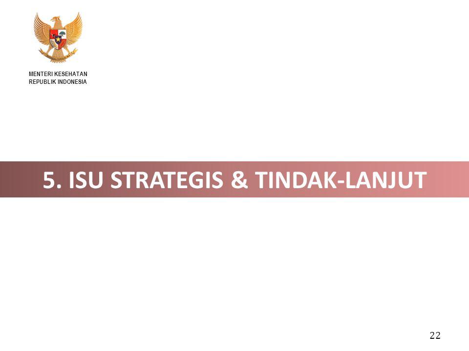 22 5. ISU STRATEGIS & TINDAK-LANJUT MENTERI KESEHATAN REPUBLIK INDONESIA