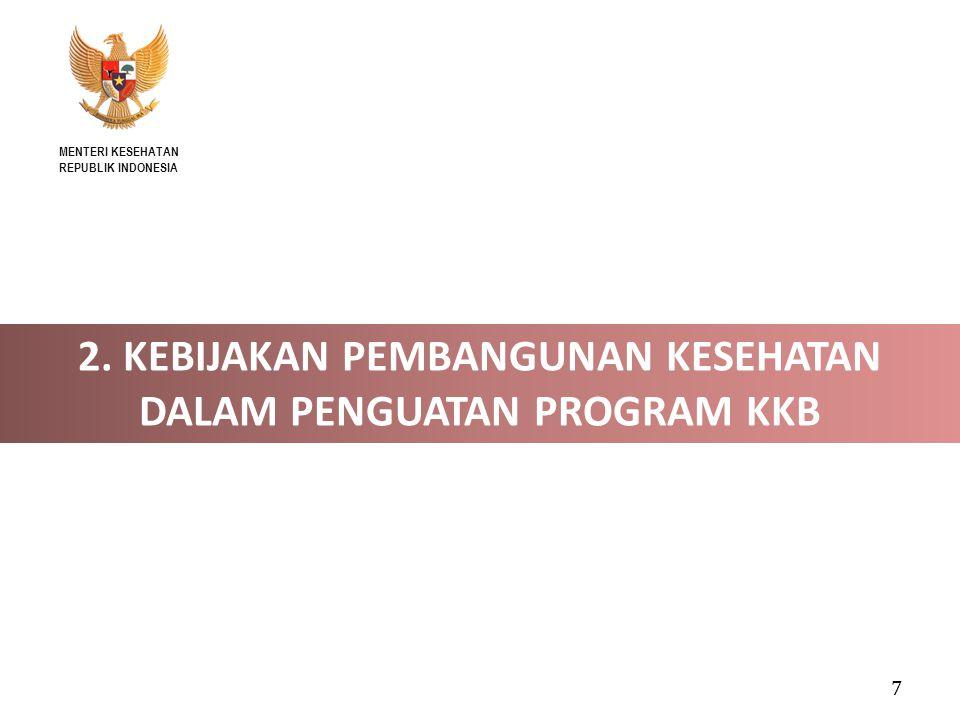 KEBIJAKAN/STRATEGI 2014-2015 (1) 1.Penguatan komitmen para pemangku kepentingan, baik pemerintah maupun non pemerintah, dalam penyelenggaraan Pelayanan KB 2.Peningkatan ketersediaan, keterjangkauan, dan kualitas Pelayanan KB, termasuk pelayanan KIE dan konseling 3.Peningkatan permintaan Pelayanan KB melalui perubahan nilai tentang jumlah anak ideal dalam keluarga  Promosikan : DUA ANAK CUKUP dan CEGAH KEHAMILAN 4 TERLALU 8