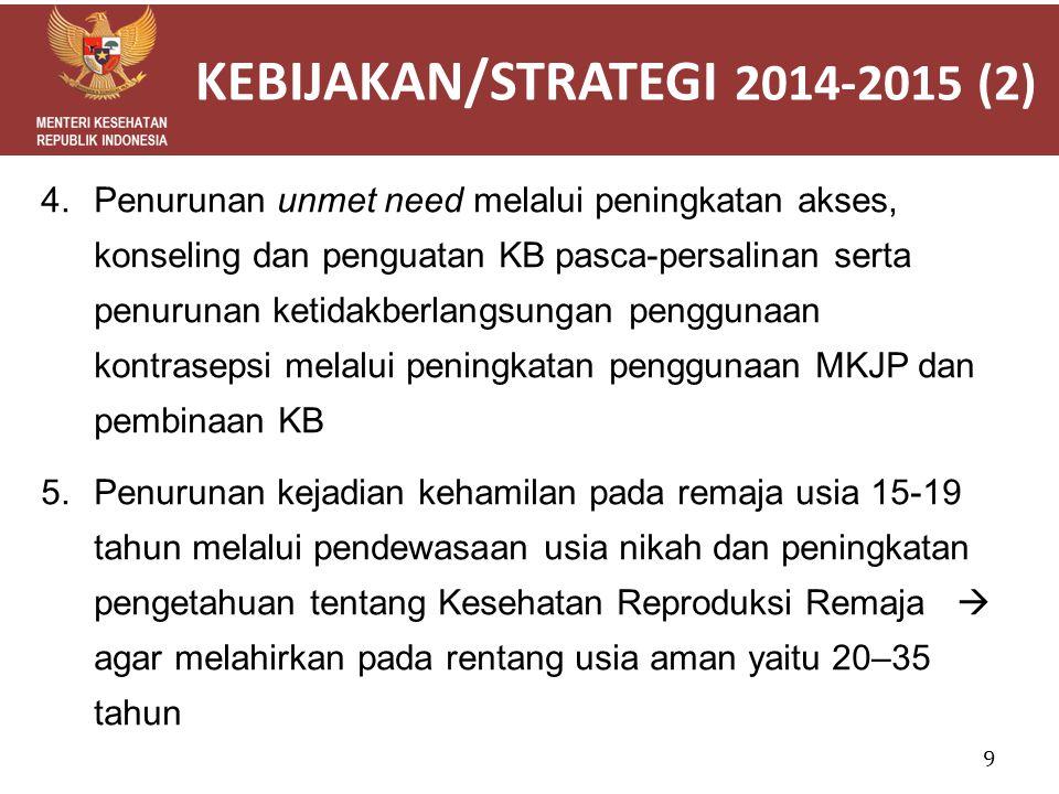 KEBIJAKAN/STRATEGI 2014-2015 (2) 4.Penurunan unmet need melalui peningkatan akses, konseling dan penguatan KB pasca-persalinan serta penurunan ketidak