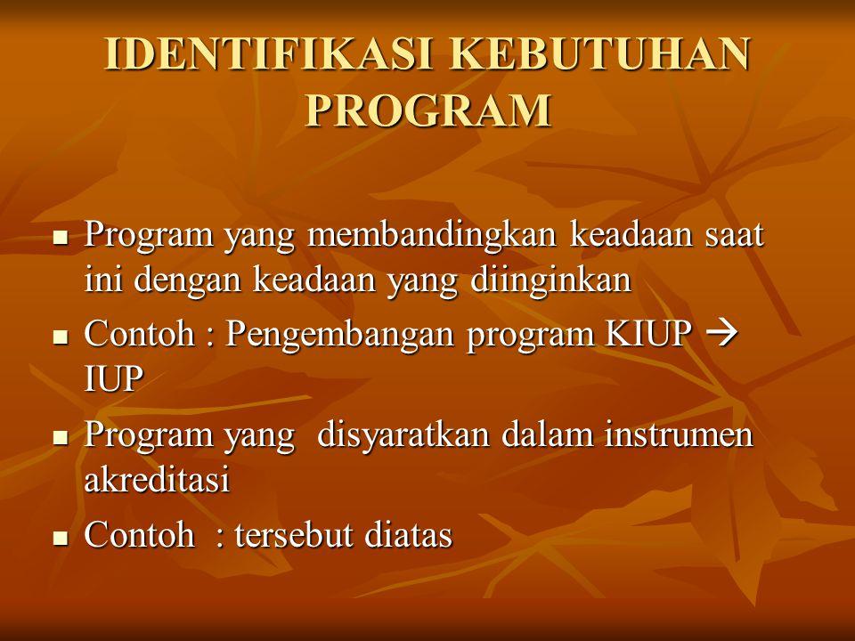 IDENTIFIKASI KEBUTUHAN PROGRAM Program yang membandingkan keadaan saat ini dengan keadaan yang diinginkan Program yang membandingkan keadaan saat ini