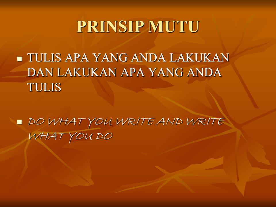 PRINSIP MUTU TULIS APA YANG ANDA LAKUKAN DAN LAKUKAN APA YANG ANDA TULIS TULIS APA YANG ANDA LAKUKAN DAN LAKUKAN APA YANG ANDA TULIS DO WHAT YOU WRITE