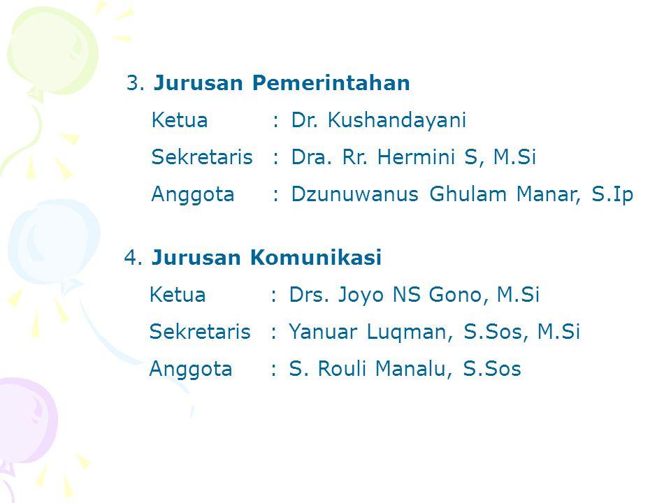 3. Jurusan Pemerintahan Ketua:Dr. Kushandayani Sekretaris:Dra. Rr. Hermini S, M.Si Anggota:Dzunuwanus Ghulam Manar, S.Ip 4. Jurusan Komunikasi Ketua:D