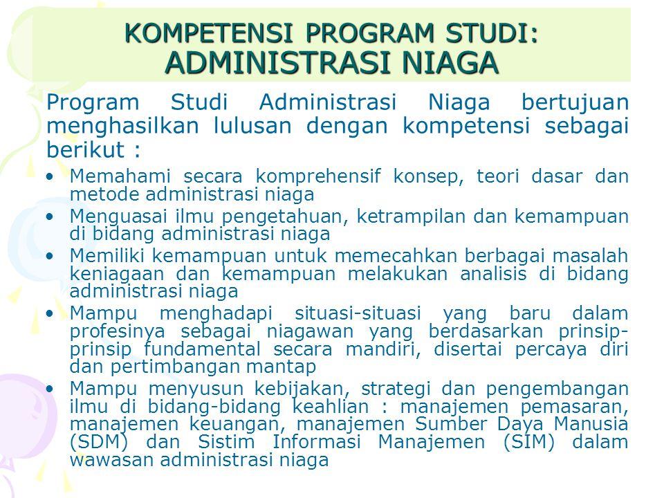 KOMPETENSI PROGRAM STUDI: ADMINISTRASI NIAGA Program Studi Administrasi Niaga bertujuan menghasilkan lulusan dengan kompetensi sebagai berikut : Memah