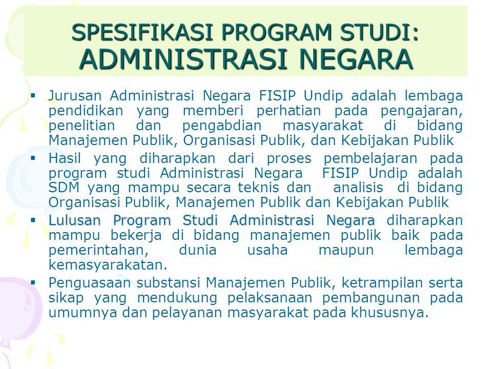 SPESIFIKASI PROGRAM STUDI: ADMINISTRASI NEGARA  Jurusan Administrasi Negara FISIP Undip adalah lembaga pendidikan yang memberi perhatian pada pengaja