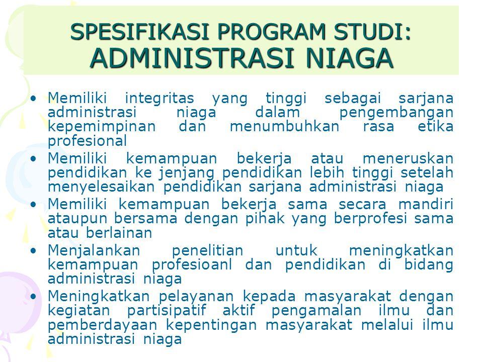 SPESIFIKASI PROGRAM STUDI: ADMINISTRASI NIAGA Memiliki integritas yang tinggi sebagai sarjana administrasi niaga dalam pengembangan kepemimpinan dan m