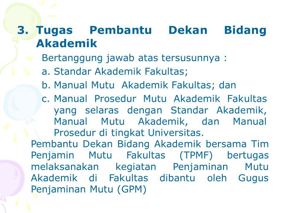 3.Tugas Pembantu Dekan Bidang Akademik Bertanggung jawab atas tersusunnya : a.Standar Akademik Fakultas; b.Manual Mutu Akademik Fakultas; dan c.Manual