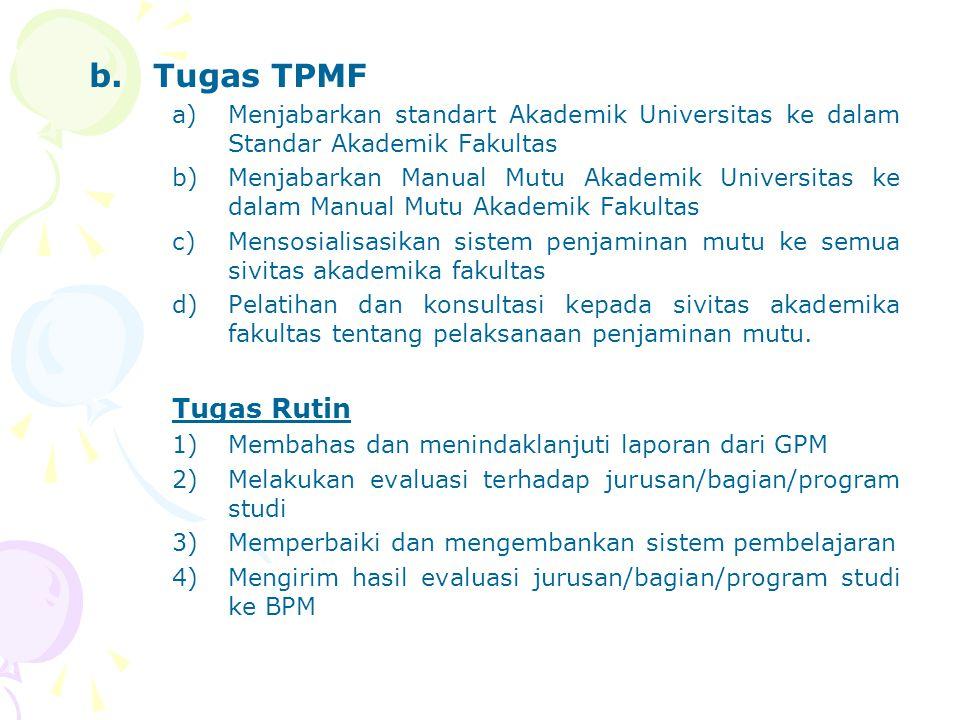 b.Tugas TPMF a)Menjabarkan standart Akademik Universitas ke dalam Standar Akademik Fakultas b)Menjabarkan Manual Mutu Akademik Universitas ke dalam Ma