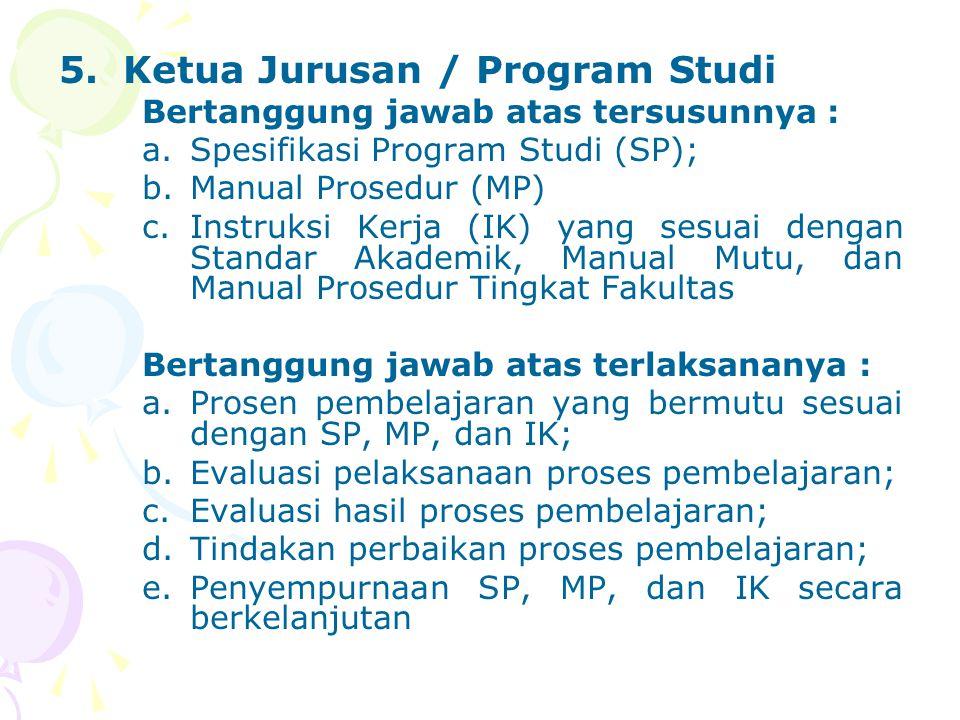 5.Ketua Jurusan / Program Studi Bertanggung jawab atas tersusunnya : a.Spesifikasi Program Studi (SP); b.Manual Prosedur (MP) c.Instruksi Kerja (IK) y