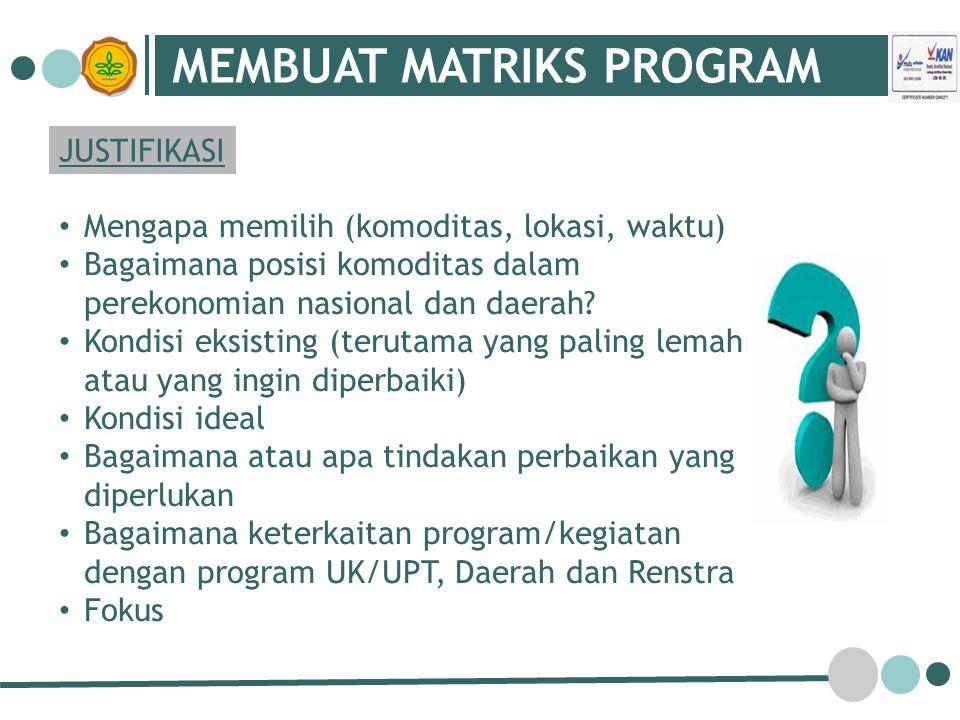 MEMBUAT MATRIKS PROGRAM JUSTIFIKASI Mengapa memilih (komoditas, lokasi, waktu) Bagaimana posisi komoditas dalam perekonomian nasional dan daerah.