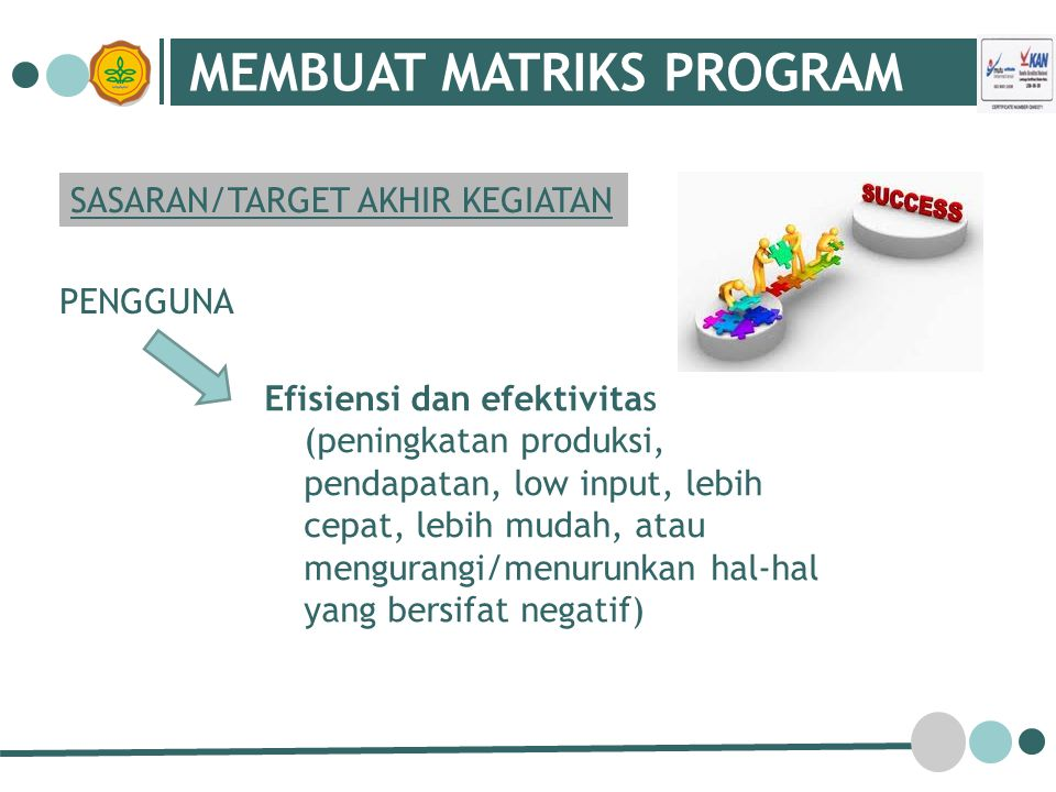 MEMBUAT MATRIKS PROGRAM SASARAN/TARGET AKHIR KEGIATAN PENGGUNA Efisiensi dan efektivitas (peningkatan produksi, pendapatan, low input, lebih cepat, lebih mudah, atau mengurangi/menurunkan hal-hal yang bersifat negatif)