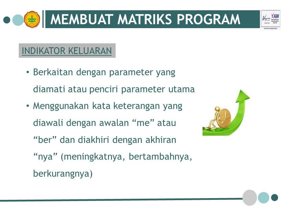 MEMBUAT MATRIKS PROGRAM INDIKATOR KELUARAN Berkaitan dengan parameter yang diamati atau penciri parameter utama Menggunakan kata keterangan yang diawa