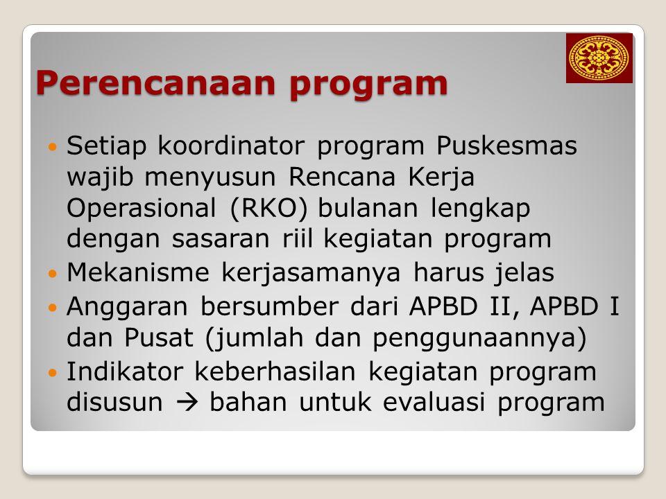 Perencanaan program Setiap koordinator program Puskesmas wajib menyusun Rencana Kerja Operasional (RKO) bulanan lengkap dengan sasaran riil kegiatan p