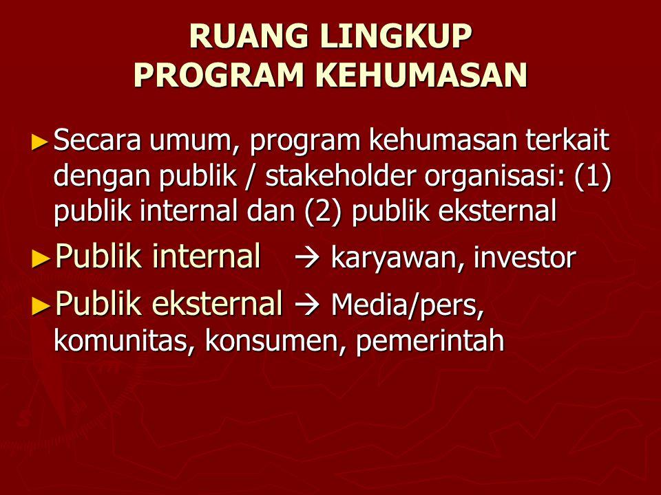 RUANG LINGKUP PROGRAM KEHUMASAN ► Secara umum, program kehumasan terkait dengan publik / stakeholder organisasi: (1) publik internal dan (2) publik ek