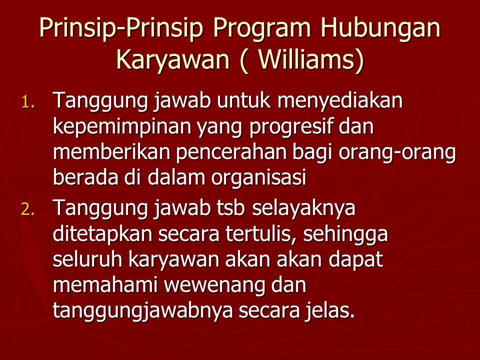 Prinsip-Prinsip Program Hubungan Karyawan ( Williams) 1. Tanggung jawab untuk menyediakan kepemimpinan yang progresif dan memberikan pencerahan bagi o