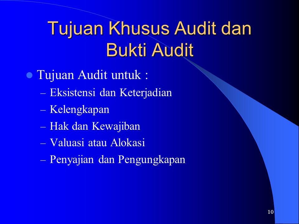 10 Tujuan Khusus Audit dan Bukti Audit Tujuan Audit untuk : – Eksistensi dan Keterjadian – Kelengkapan – Hak dan Kewajiban – Valuasi atau Alokasi – Pe