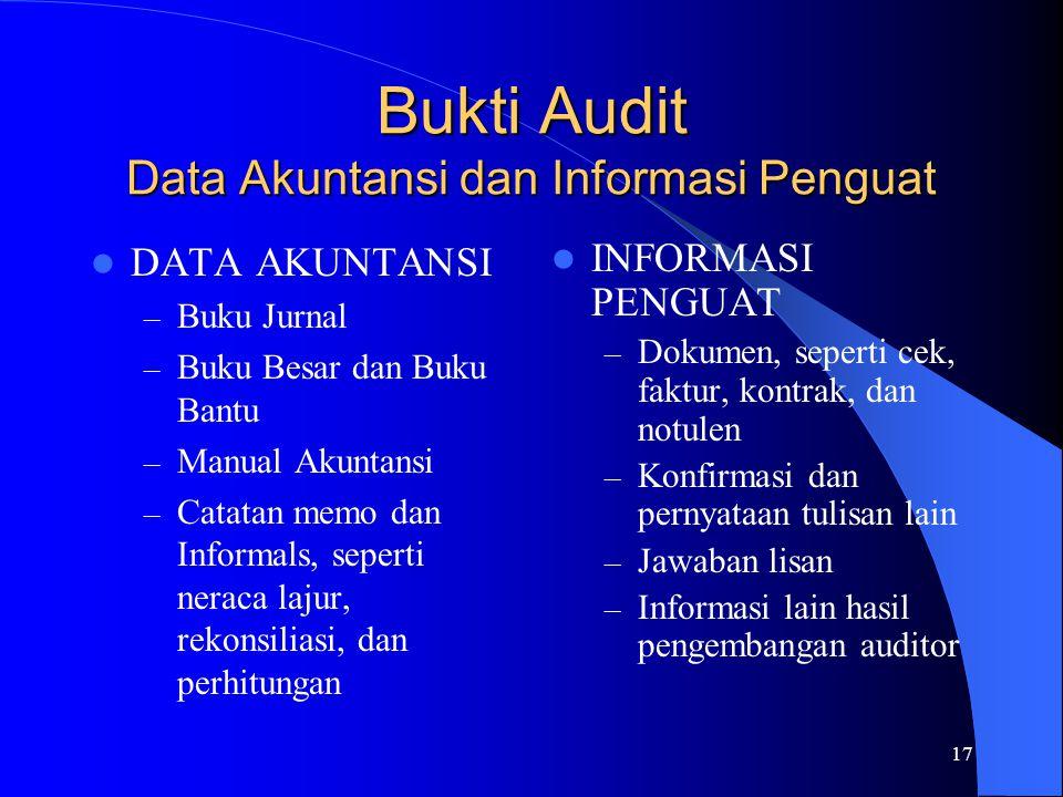 17 Bukti Audit Data Akuntansi dan Informasi Penguat DATA AKUNTANSI – Buku Jurnal – Buku Besar dan Buku Bantu – Manual Akuntansi – Catatan memo dan Inf