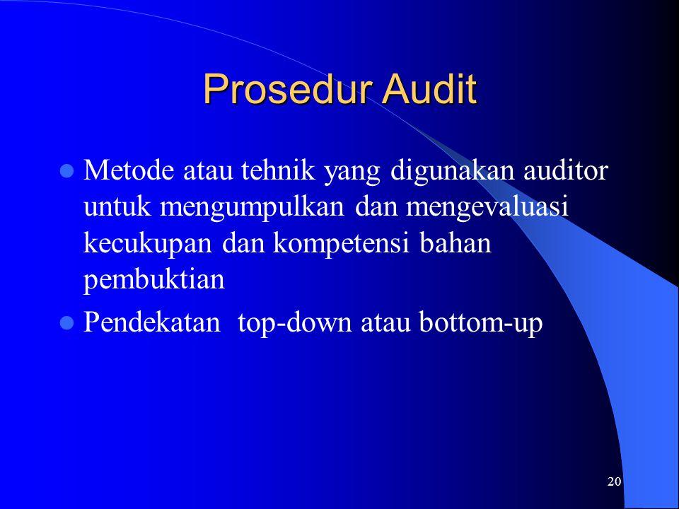 20 Prosedur Audit Metode atau tehnik yang digunakan auditor untuk mengumpulkan dan mengevaluasi kecukupan dan kompetensi bahan pembuktian Pendekatan t