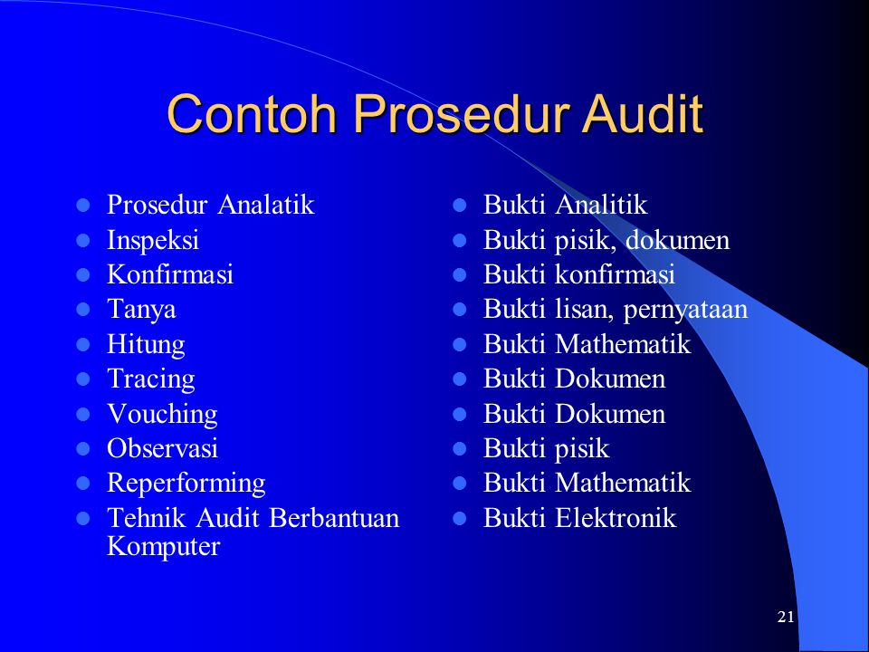 21 Contoh Prosedur Audit Prosedur Analatik Inspeksi Konfirmasi Tanya Hitung Tracing Vouching Observasi Reperforming Tehnik Audit Berbantuan Komputer B