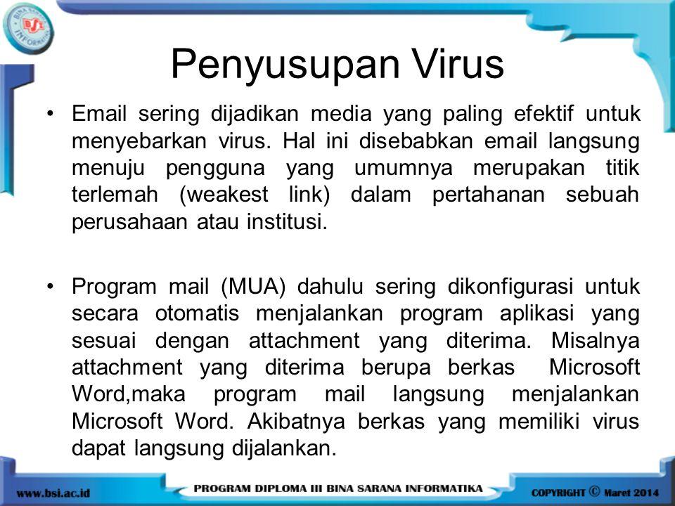 Penyusupan Virus Email sering dijadikan media yang paling efektif untuk menyebarkan virus. Hal ini disebabkan email langsung menuju pengguna yang umum