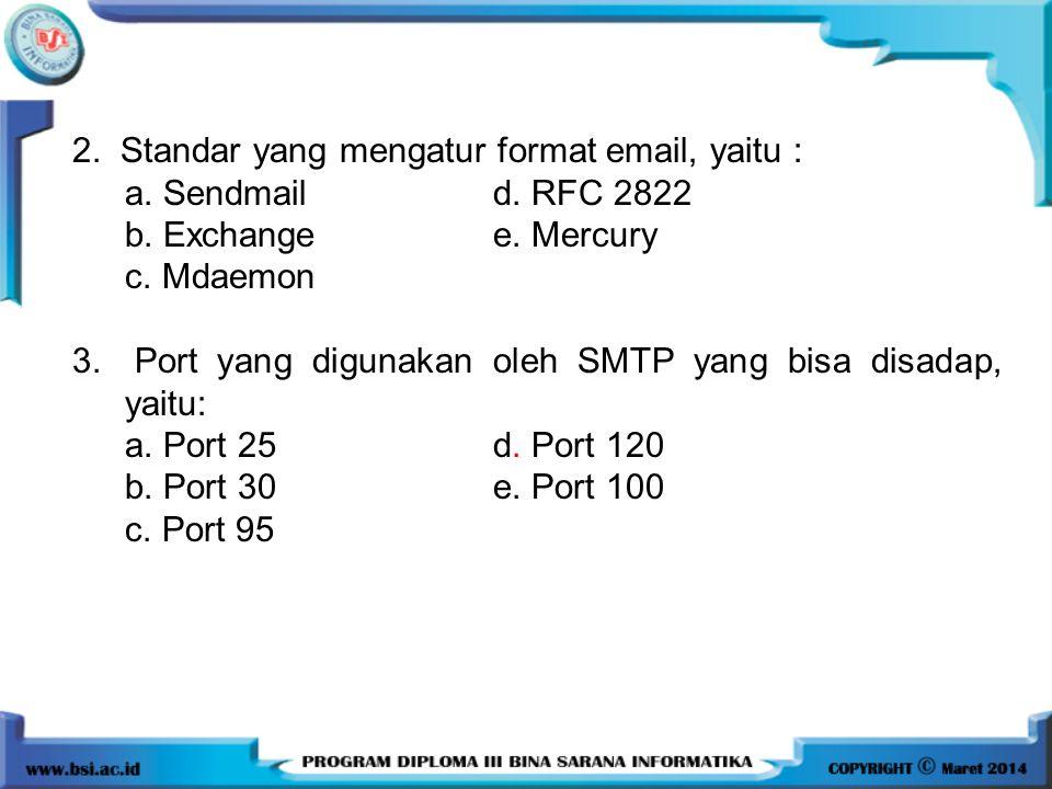 2. Standar yang mengatur format email, yaitu : a. Sendmail d. RFC 2822 b. Exchange e. Mercury c. Mdaemon 3. Port yang digunakan oleh SMTP yang bisa di