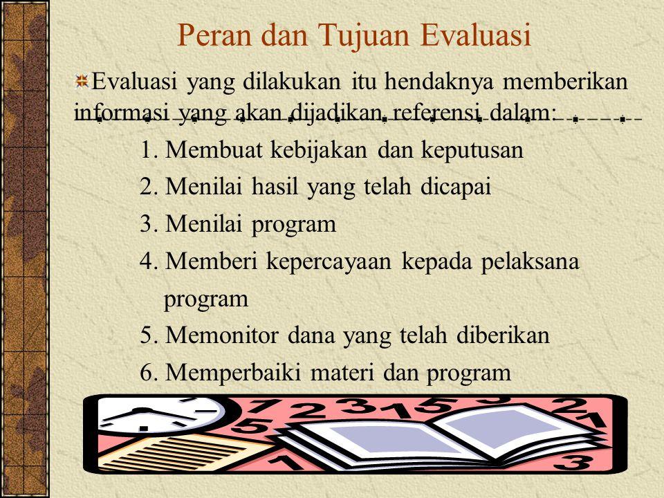 Peran dan Tujuan Evaluasi Evaluasi yang dilakukan itu hendaknya memberikan informasi yang akan dijadikan referensi dalam: 1.
