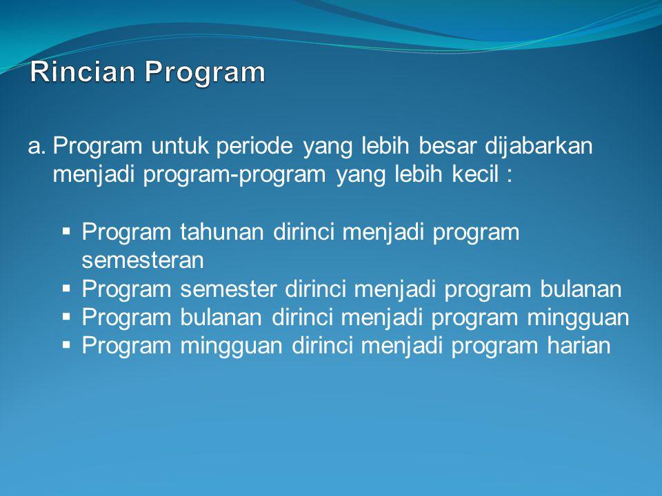a.Program untuk periode yang lebih besar dijabarkan menjadi program-program yang lebih kecil :  Program tahunan dirinci menjadi program semesteran 