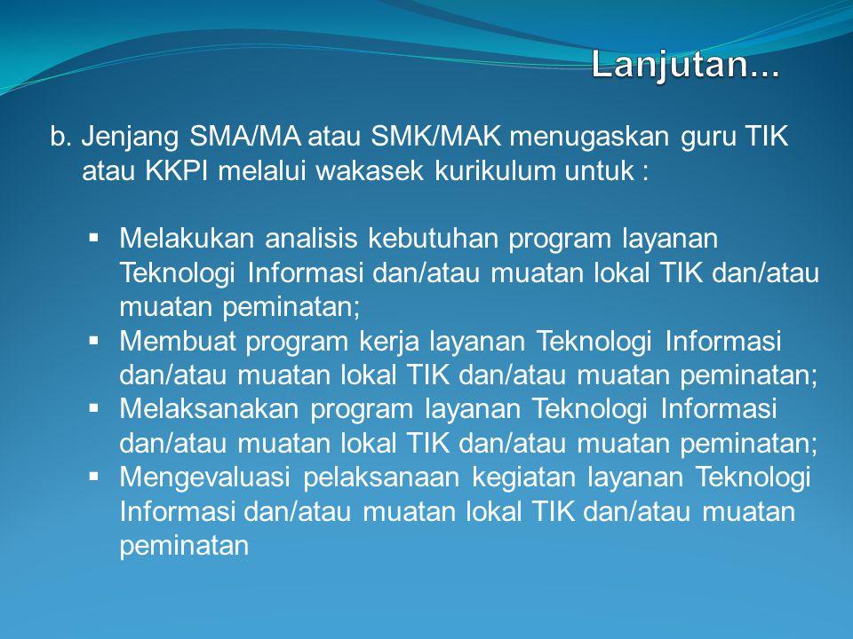 b. Jenjang SMA/MA atau SMK/MAK menugaskan guru TIK atau KKPI melalui wakasek kurikulum untuk :  Melakukan analisis kebutuhan program layanan Teknolog