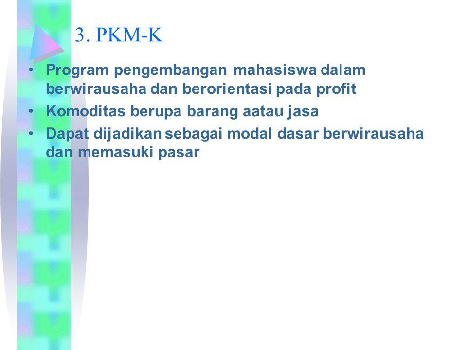 3. PKM-K Program pengembangan mahasiswa dalam berwirausaha dan berorientasi pada profit Komoditas berupa barang aatau jasa Dapat dijadikan sebagai mod