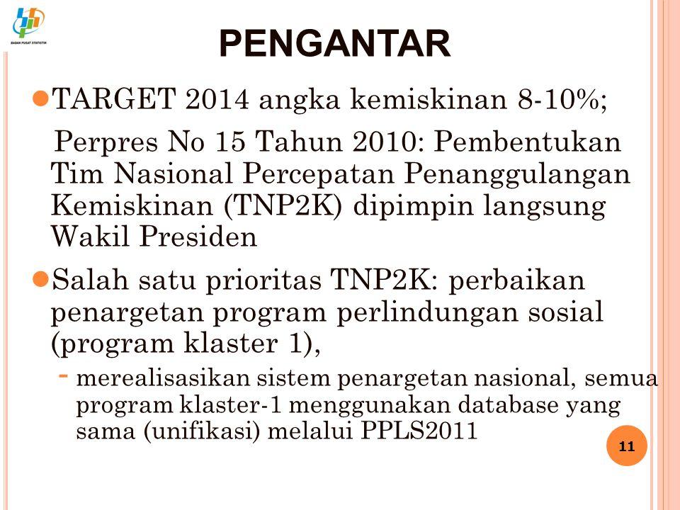 PENGANTAR ● TARGET 2014 angka kemiskinan 8-10%; Perpres No 15 Tahun 2010: Pembentukan Tim Nasional Percepatan Penanggulangan Kemiskinan (TNP2K) dipimp