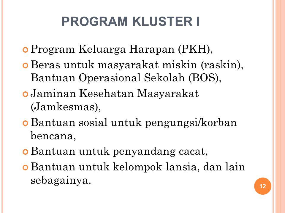 PROGRAM KLUSTER I Program Keluarga Harapan (PKH), Beras untuk masyarakat miskin (raskin), Bantuan Operasional Sekolah (BOS), Jaminan Kesehatan Masyara