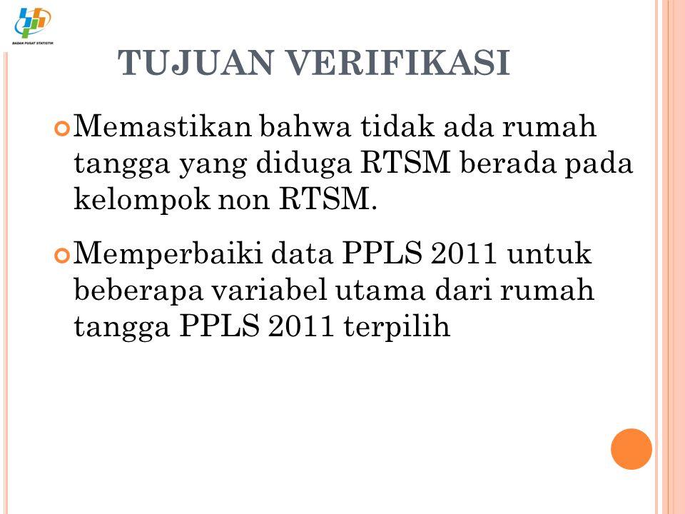 Memastikan bahwa tidak ada rumah tangga yang diduga RTSM berada pada kelompok non RTSM. Memperbaiki data PPLS 2011 untuk beberapa variabel utama dari