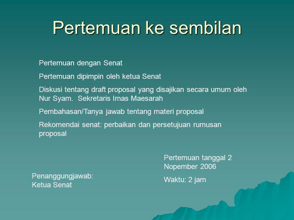 Pertemuan ke sembilan Pertemuan dengan Senat Pertemuan dipimpin oleh ketua Senat Diskusi tentang draft proposal yang disajikan secara umum oleh Nur Sy