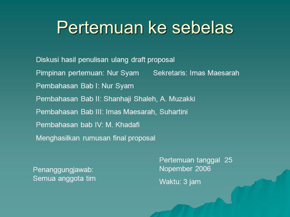 Pertemuan ke sebelas Diskusi hasil penulisan ulang draft proposal Pimpinan pertemuan: Nur Syam Sekretaris: Imas Maesarah Pembahasan Bab I: Nur Syam Pe