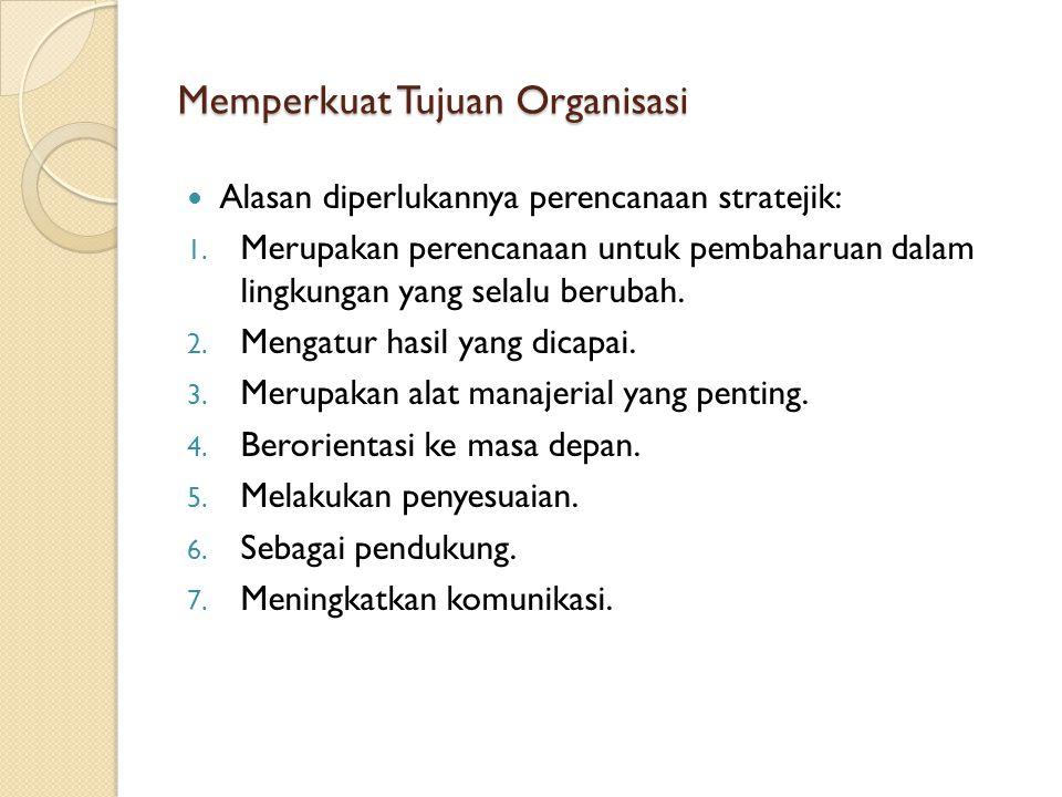 Memperkuat Tujuan Organisasi Alasan diperlukannya perencanaan stratejik: 1. Merupakan perencanaan untuk pembaharuan dalam lingkungan yang selalu berub