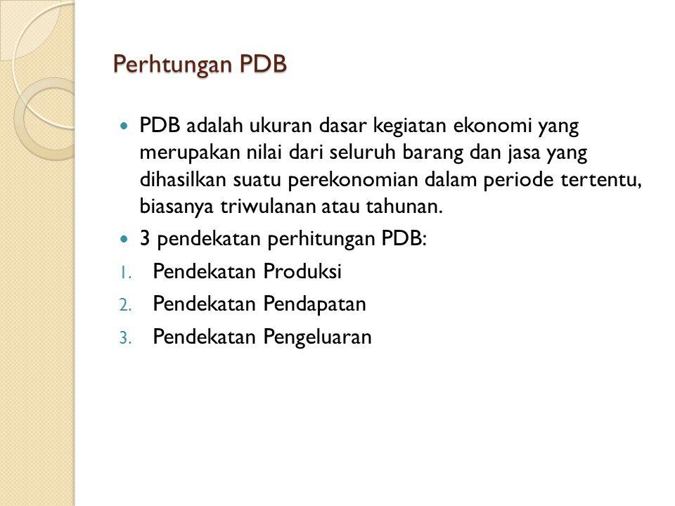 Perhtungan PDB PDB adalah ukuran dasar kegiatan ekonomi yang merupakan nilai dari seluruh barang dan jasa yang dihasilkan suatu perekonomian dalam per