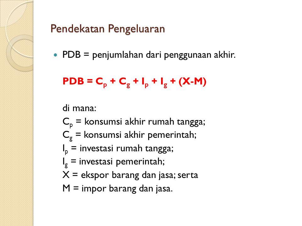 Pendekatan Pengeluaran PDB = penjumlahan dari penggunaan akhir. PDB = C p + C g + I p + I g + (X-M) di mana: C p = konsumsi akhir rumah tangga; C g =