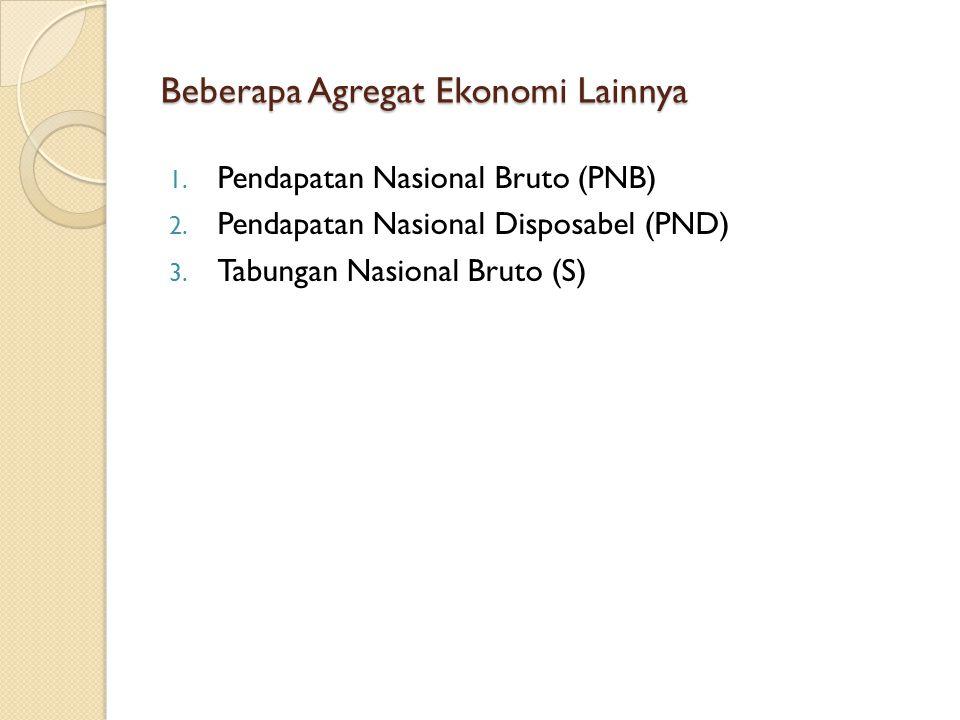 Beberapa Agregat Ekonomi Lainnya 1. Pendapatan Nasional Bruto (PNB) 2. Pendapatan Nasional Disposabel (PND) 3. Tabungan Nasional Bruto (S)