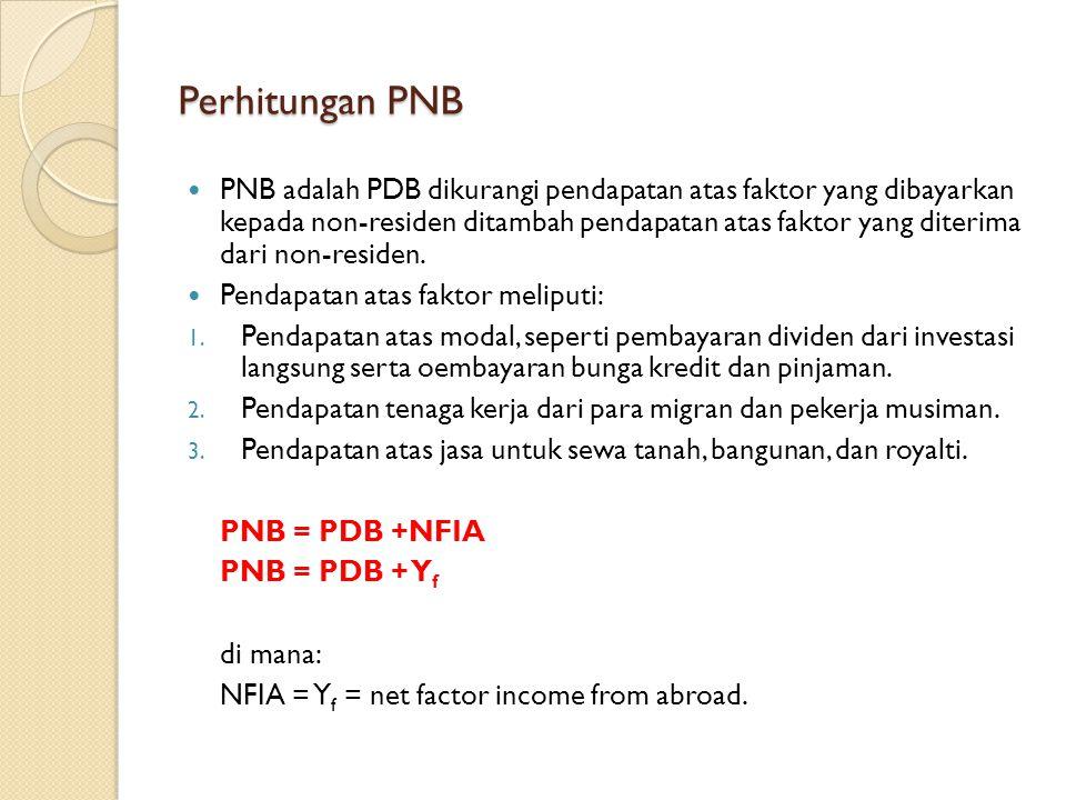 Perhitungan PNB PNB adalah PDB dikurangi pendapatan atas faktor yang dibayarkan kepada non-residen ditambah pendapatan atas faktor yang diterima dari