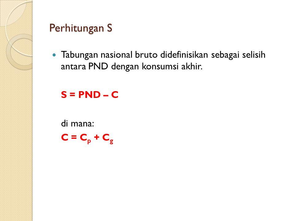 Perhitungan S Tabungan nasional bruto didefinisikan sebagai selisih antara PND dengan konsumsi akhir. S = PND – C di mana: C = C p + C g