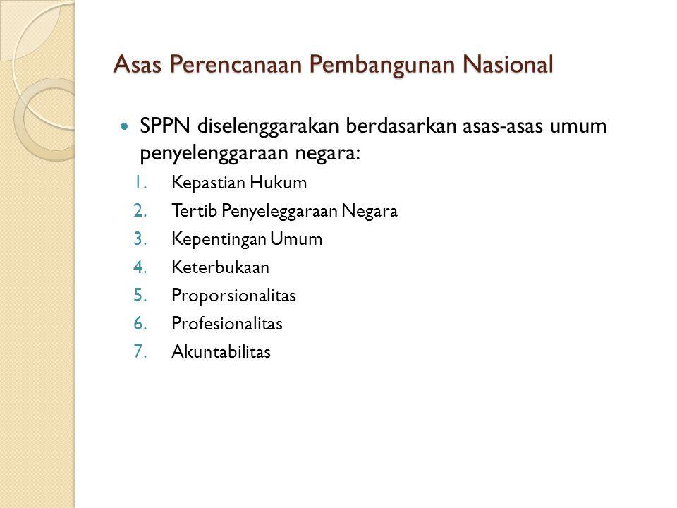 Asas Perencanaan Pembangunan Nasional SPPN diselenggarakan berdasarkan asas-asas umum penyelenggaraan negara: 1.Kepastian Hukum 2.Tertib Penyeleggaraa