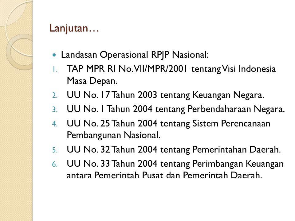Lanjutan… Landasan Operasional RPJP Nasional: 1. TAP MPR RI No. VII/MPR/2001 tentang Visi Indonesia Masa Depan. 2. UU No. 17 Tahun 2003 tentang Keuang