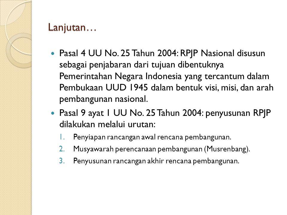 Lanjutan… Pasal 4 UU No. 25 Tahun 2004: RPJP Nasional disusun sebagai penjabaran dari tujuan dibentuknya Pemerintahan Negara Indonesia yang tercantum