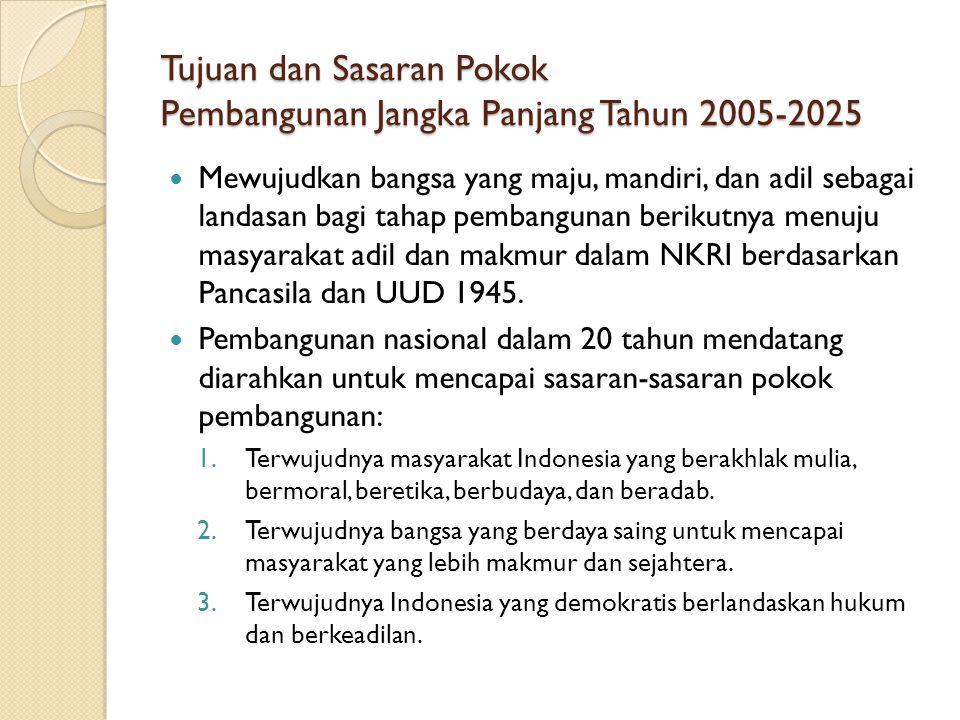 Tujuan dan Sasaran Pokok Pembangunan Jangka Panjang Tahun 2005-2025 Mewujudkan bangsa yang maju, mandiri, dan adil sebagai landasan bagi tahap pembang