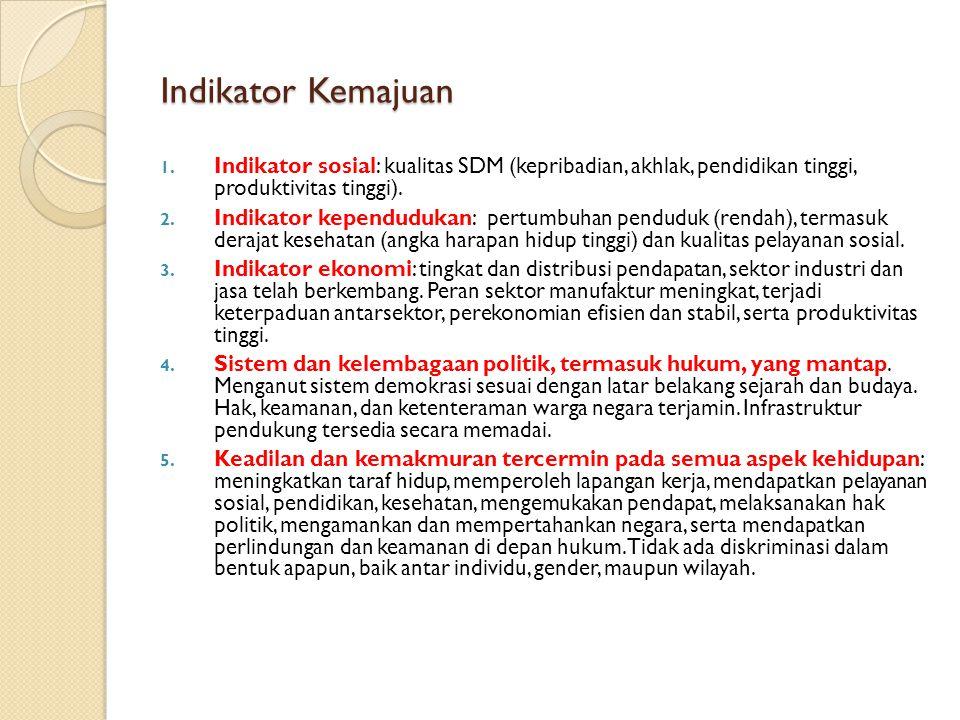 Indikator Kemajuan 1. Indikator sosial: kualitas SDM (kepribadian, akhlak, pendidikan tinggi, produktivitas tinggi). 2. Indikator kependudukan: pertum