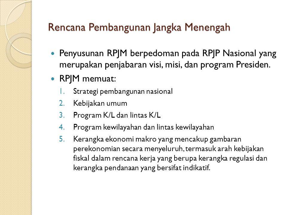 Rencana Pembangunan Jangka Menengah Penyusunan RPJM berpedoman pada RPJP Nasional yang merupakan penjabaran visi, misi, dan program Presiden. RPJM mem