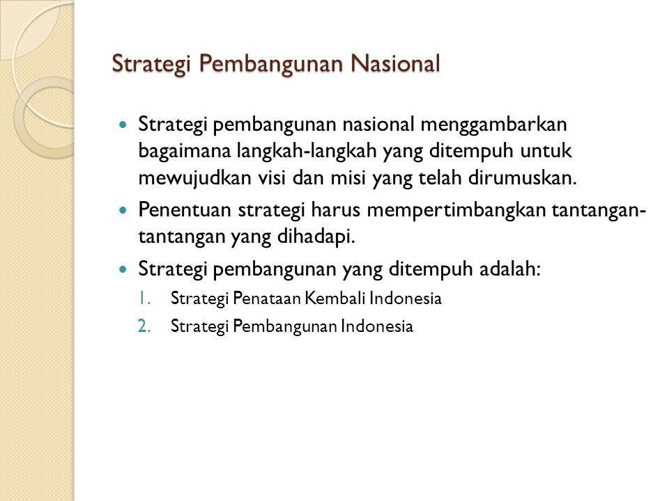 Strategi Pembangunan Nasional Strategi pembangunan nasional menggambarkan bagaimana langkah-langkah yang ditempuh untuk mewujudkan visi dan misi yang