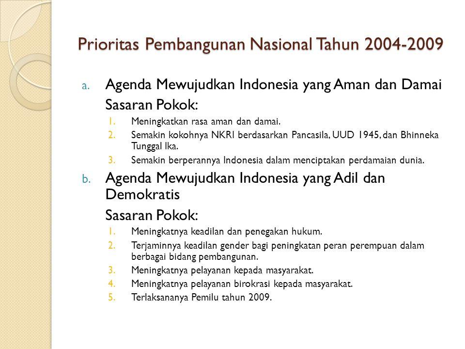 Prioritas Pembangunan Nasional Tahun 2004-2009 a. Agenda Mewujudkan Indonesia yang Aman dan Damai Sasaran Pokok: 1.Meningkatkan rasa aman dan damai. 2