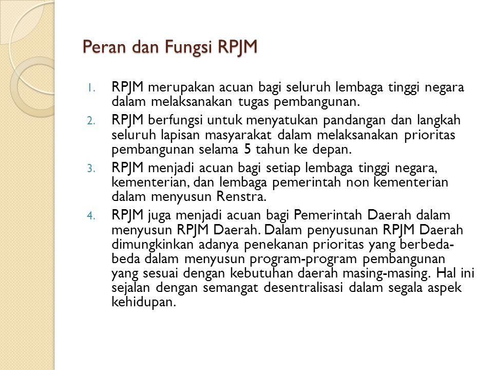 Peran dan Fungsi RPJM 1. RPJM merupakan acuan bagi seluruh lembaga tinggi negara dalam melaksanakan tugas pembangunan. 2. RPJM berfungsi untuk menyatu