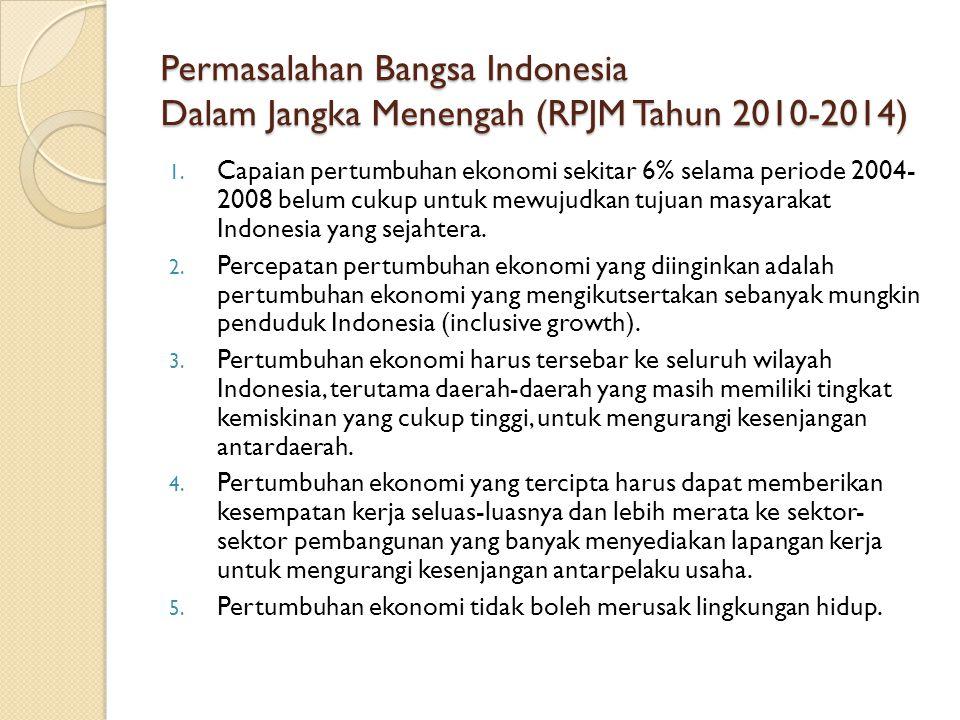 Permasalahan Bangsa Indonesia Dalam Jangka Menengah (RPJM Tahun 2010-2014) 1. Capaian pertumbuhan ekonomi sekitar 6% selama periode 2004- 2008 belum c